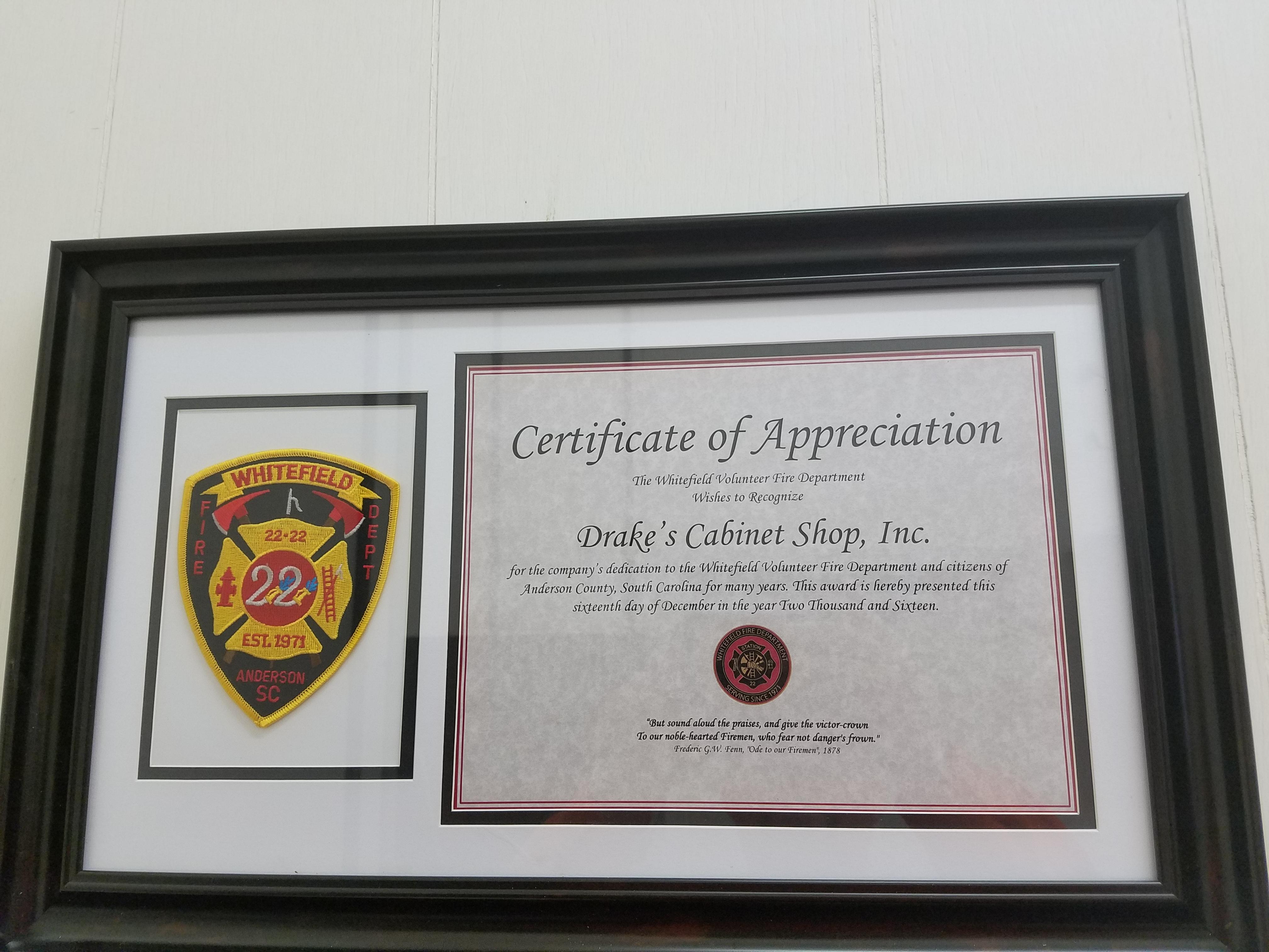 Certificate Of Appreciation Drake S Cabinet Shop Inc